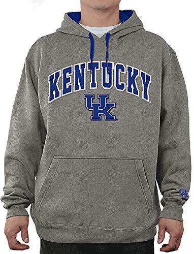 E5 NCAA Men's Tackle Twill Logo College Classic Hoodie Sweatshirt (Large, Kentucky Wildcats Grey)