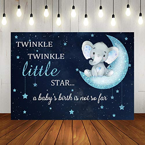 Elephant Themed Baby Shower (Twinkle Twinkle Little Star Baby Shower Backdrop Blue Elephant Photography Backdrop for Boy 7x5ft Vinyl Background Elephant Themed Party)