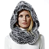 Nice Glory Women's Rex Rabbit Fur Infinity Scarf with Hat Grey Snow-top