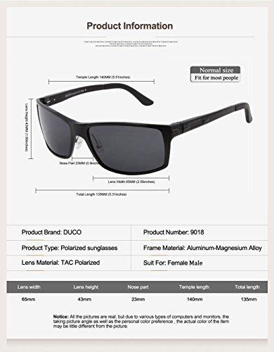 9018 de vidrios gris lente negro marco del piloto sol Nueva versión DUCO gafas polarizado Znqf8p