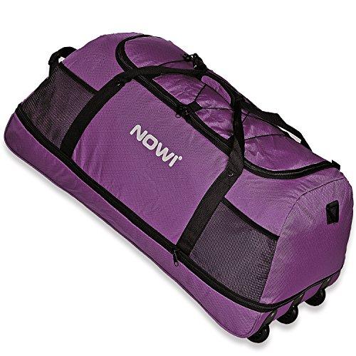 Nowi XXL 3-Rollen Reisetasche 100-135 Liter Volumen Rollenreisetasche platzsparend 81 cm mit Dehnfalte lila