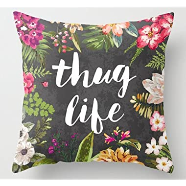Kenneth case Beautiful Flower Painting Thug Life Black Customized Plush Pillowcase Pretty Floral Pillow Covers 18X18 Inch(One Side)