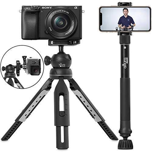 6 in 1 Monopod Tripod Kit by Altura Photo – Universal 55″ Telescoping DSLR Camera, GoPro, Cell Phone Holder Selfie Stick with Tripod Base, 360 Ball Head and Carry Bag