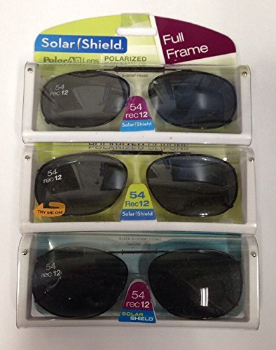 3 SOLAR SHIELD Clip-on Polarized Sunglasses Size 54 rec 12 Black Full Frame - Sun Polarized Sunglasses Shield
