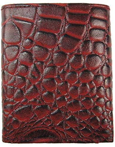 NEW Mens Trifold Croc Wallet Croco Embossed Alligator Skin Print Genuine Leather (burgandy) ()