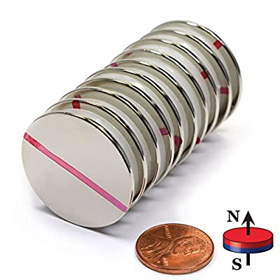 """CMS Magnetics® Grade N52, the Most Powerful Disc Neodymium Magnets, 1.26"""" Diameter x 1/16"""" Thick, N Pole Marked - Pack of 10"""