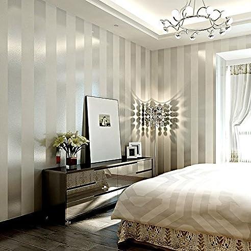 Toll LXPAGTZ Einfache Moderne Vlies Tapete Schlafzimmer Wohnzimmer Schwarzen Und  Weißen Vertikalen Streifen Blau Östliches Mittelmeer