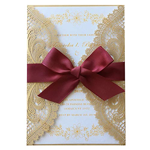 1 Set Picky Bride Golden Lace Wedding Invitations with Burgundy Ribbon Bow and RSVP Cards Envelopes Included