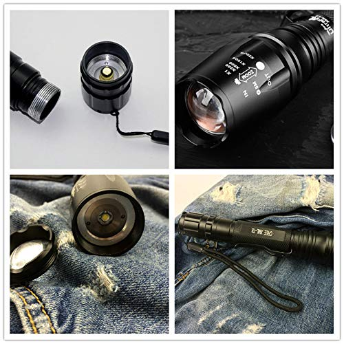 Happy Go USB Rechargeable tactical flashlight Extended Range 18650 lithium battery2(included) P6-T6 LED 850lm Zoom 5 lighting modes IPX5 waterproof Usable in rain Outdoor Cycling