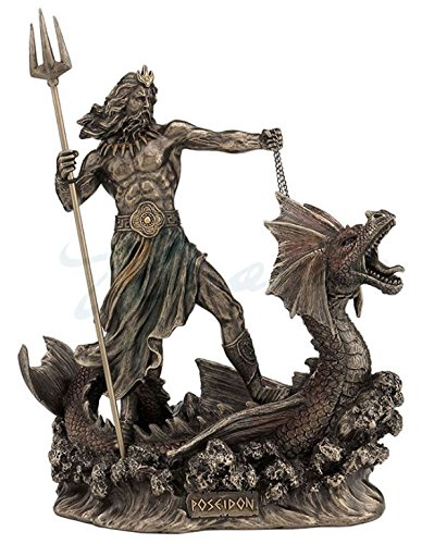 Bronze Statue Poseidon - Poseidon With Trident Standing On Hippocampus, Cold Cast Bronze, 9 1/4 Inch Tall