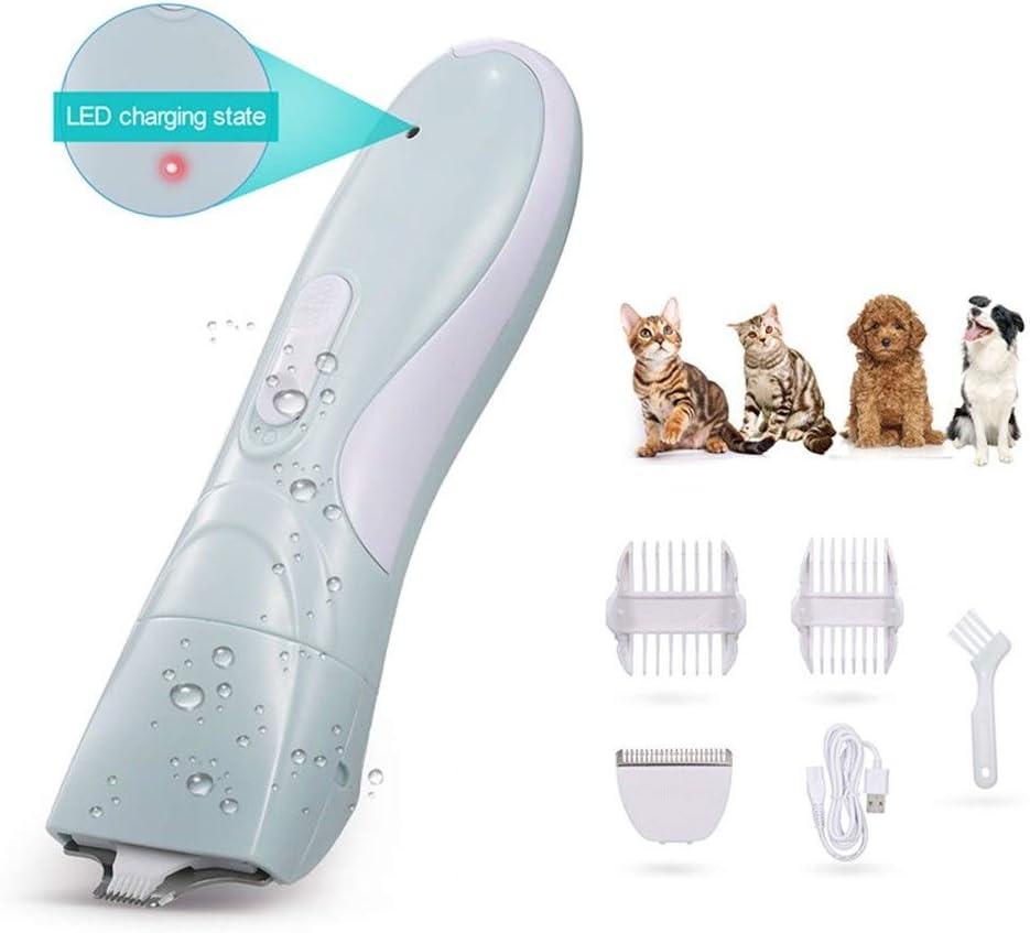XFZDP Preparación del Animal doméstico podadoras eléctricas Clippers Mascotas Perro Gato del pie del Corte de Pelo Pelo Trimmer USB de bajo Ruido con Extra Ancho de Corte de Mascota Ha