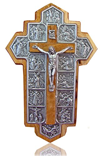 Zuluf icon Showing 14 Stations of The Cross Etched on Metal Genuine Bethlehem Olive Wood Crucifix - - CRS060 (14x9x1 cm or 5.5x3.5X.4 inch)