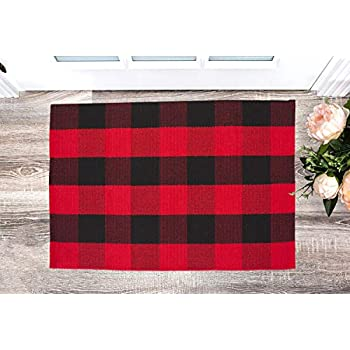 Amazon Com Dave Z One Red And Black Plaid Outdoor Rug 2