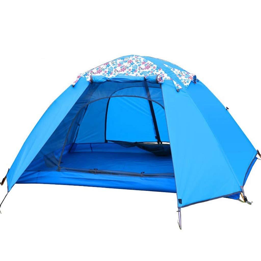Tent, rainproof sunscreen 3-4 Homme Tente Double Couche de Prougeection Solaire Anti-Pluie Tente familiale Tente extérieure légère de Camping bleu FIBERGLASS ROD