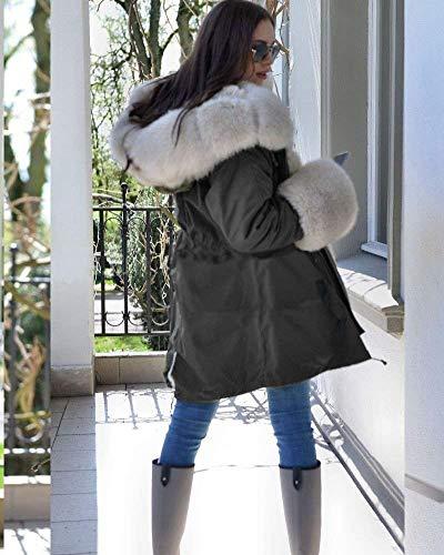 Giacche Giacca Con Cappotti Costume Invernali Trapuntato Coulisse Incappucciato Schwarz Cappotto Calda Huixin Invernali Donna Lunga Autunno Elegante Confortevole Fashion Trapuntata Addensare Cappotti SxwgU5OZq