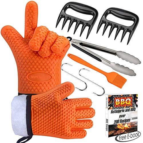 Markmesafe Silicone BBQ Gloves/Cooking Gloves Grilling Tool Accessories Set 6 Pcs - Heat Resistant Gloves, Meat Shredder Claws,Grill Brush,Barbecue Tongs,Free Recipes eBooks, L/XL