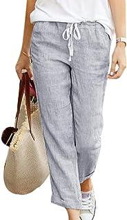 Women's Linen Summer Pants 7/8 Length Light Beach Pants Soft Comfy Loose Solid Jogging Harem Pants with Drawstrings
