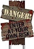 """Amscan Creepy Cemetery Halloween Party Assorted Warning Sign Decoration (Pack of 3), Brown, 12"""" x 9"""""""