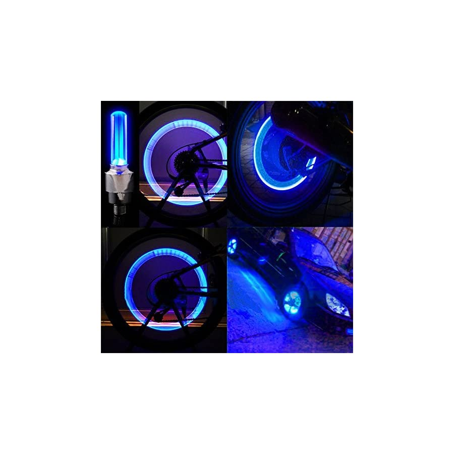 Bike Rite Brand Bike Wheel Lights Car Motorcycle Tire Valve Lights Blue Neon LED 100% Waterproof Motion Activated Bicycle Wheel Lights Cycling Accessories ( 2 pack) Batteries Included
