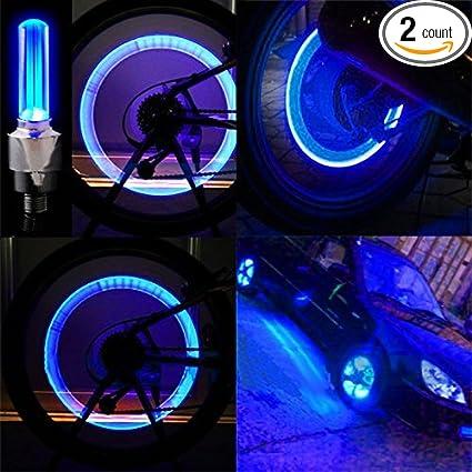 Bike Wheel Light Car Motorcycle Tire Valve Lights Blue Neon LED 100 Waterproof Motion