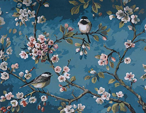 YXQSED [Wooden Frame] DIY Oil Painting Paint by Number Kit-Like Birds in The Branches 1620 inch