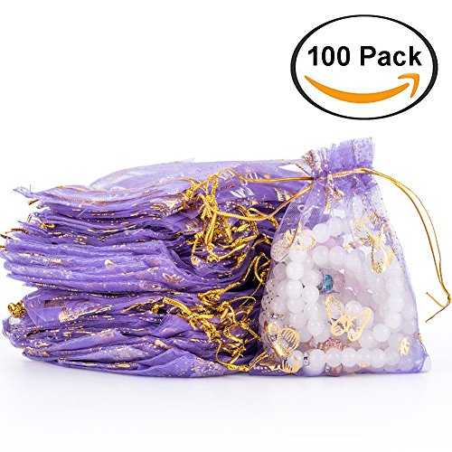 Purple Gauze (100pcs Drawstring Sheer Organza Bags Gift Jewelry Candy Chocolate Mesh Pouches for Wedding Party Bridal Baby Shower Birthday Engagement Christmas Holiday Favor, 4.7 x 3.5 Inch (Purple))
