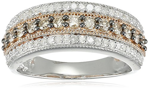14K Rose Gold over Sterling Silver Champange and White Diamond 3 Row Band Ring (1/2 cttw), Size 7