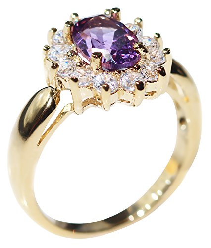 Ah! Jewellery Ladies Stunning 8mm x 6mm GENUINE 1.45CT AMETHYST Ring. Gold...
