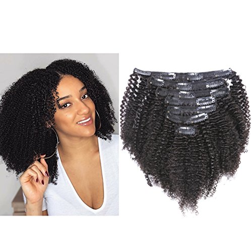 Beauty : Anrosa Thick Human Hair Extensions Curly Natural Black Hair Color 1B Afro Kinky Curly Clip in Hair Extensions Real Virgin Remy Hair 14 Inch 120 Gram 3C 4A Type for African American Black Women