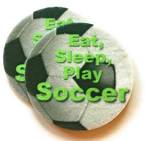 Soccer Car Cup Holder Coasters - Absorbent Car Coasters - Eat, Sleep, Play Soccer -2 ()