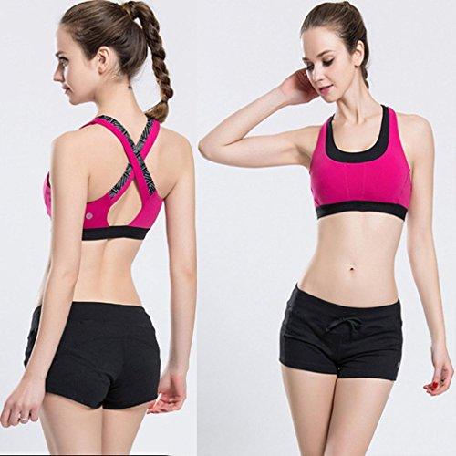 beepeak mujeres de secado rápido Acolchado (espalda cruzada Yoga gimnasio camiseta de tirantes sujetador deportivo Rosado