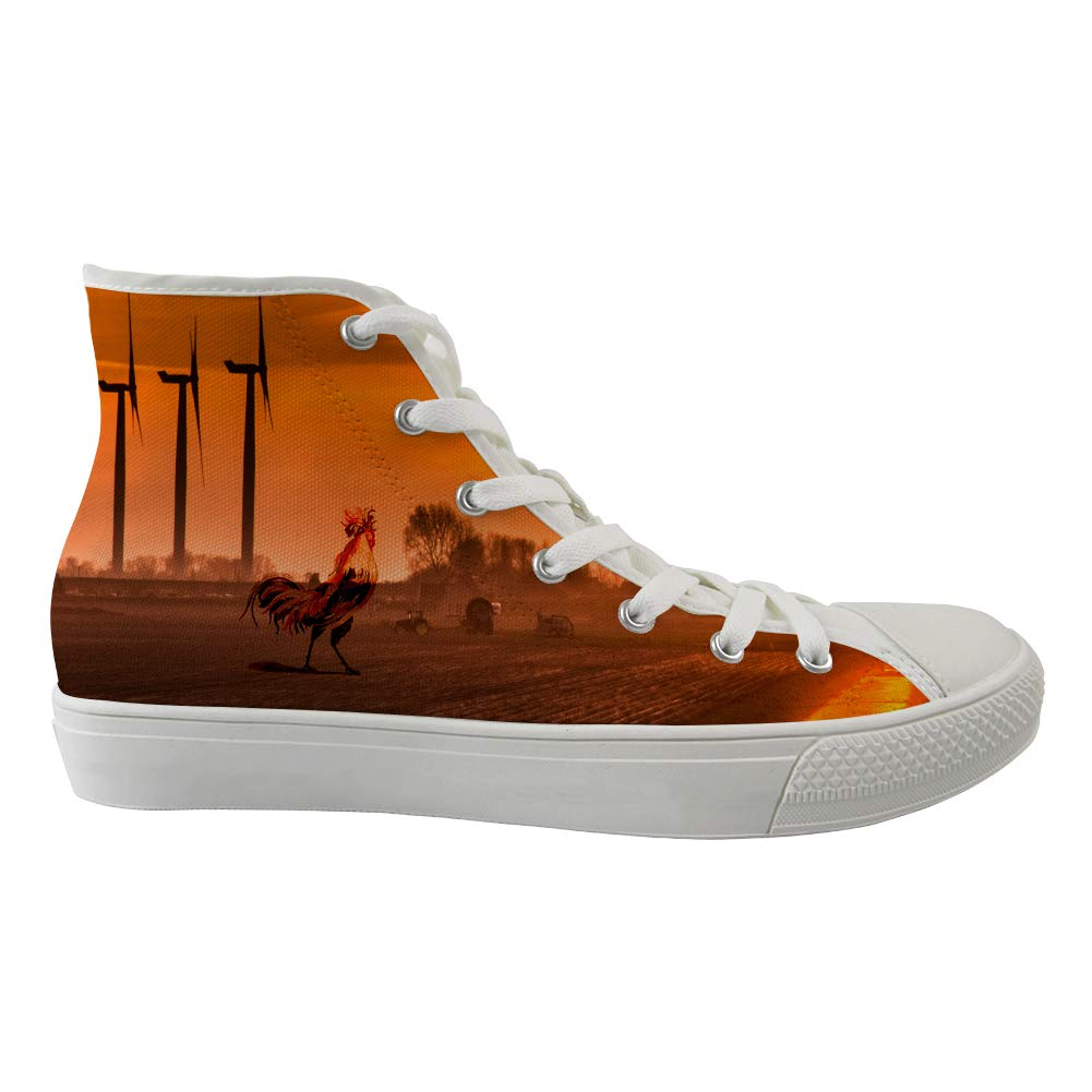 Unisex Casual High-Top Skate Shoes Classic Sneakers Adults Trainers Mighty Cock Rooster Proudly Sunrise Yelling