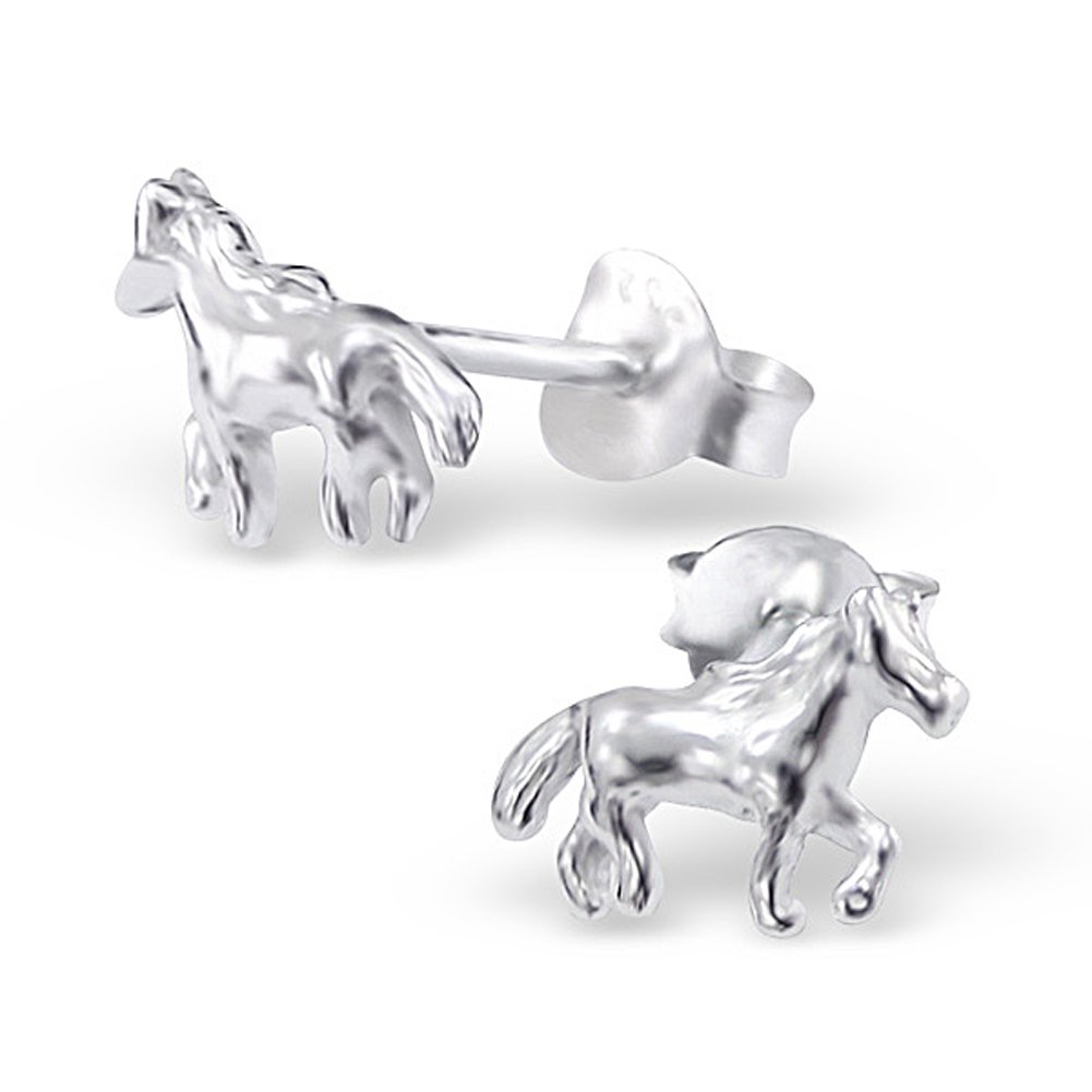 Tiny Horse Earrings Post Studs Sterling Silver 925 (E4344)