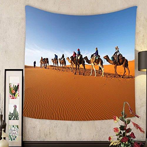 Grace Little Custom tapestry caravan going through the sand dunes in the sahara desert morocco
