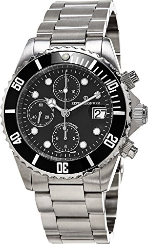 Revue Thommen Diver Automatic Watch - Black Dial Chronograph Date Revue Thommen Watch Mens - Stainless Steel Bracelet Swiss Revue Thommen Professional Dive Watch 17571.6137 (7750 Automatic Watch)