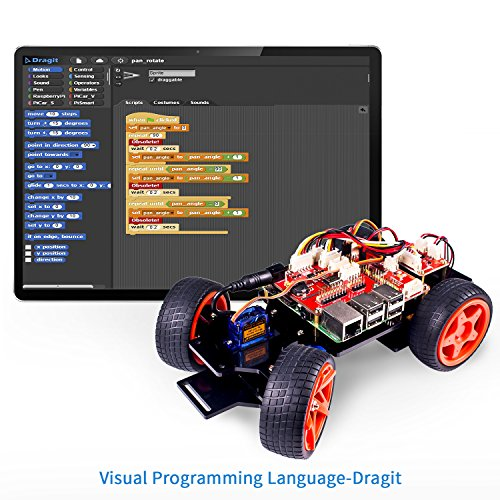 8ad56e2f14cf1 SunFounder Raspberry Pi Smart Robot Car Kit – PiCar-S Block Based Graphical  Visual Programming Language Line Following Ultrasonic Sensor ...