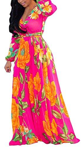 8e8c5f70c1b279 Frühling und Herbst Damen Lange Kleid mit Bandagen Mode Druck Kleider  Maxikleid Strandkleider Blusenkleider Sexy V