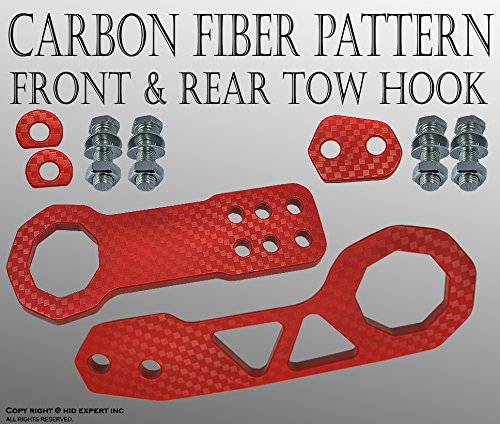 Color: Red ICBEAMER Racing Style Universal Anodized CNC Aluminum Combo Deal Tow Hook Kit Including Front Rear Tow Hook