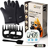 5-in-1 BBQ Smoker Accessories | Ultimate Texture and Flavor | No.1 Pulled Pork, Ribs and Brisket Kit | Heat Resistant Grill Gloves, Meat Claws, BBQ Thermometer, Grilling Brush, and Timer