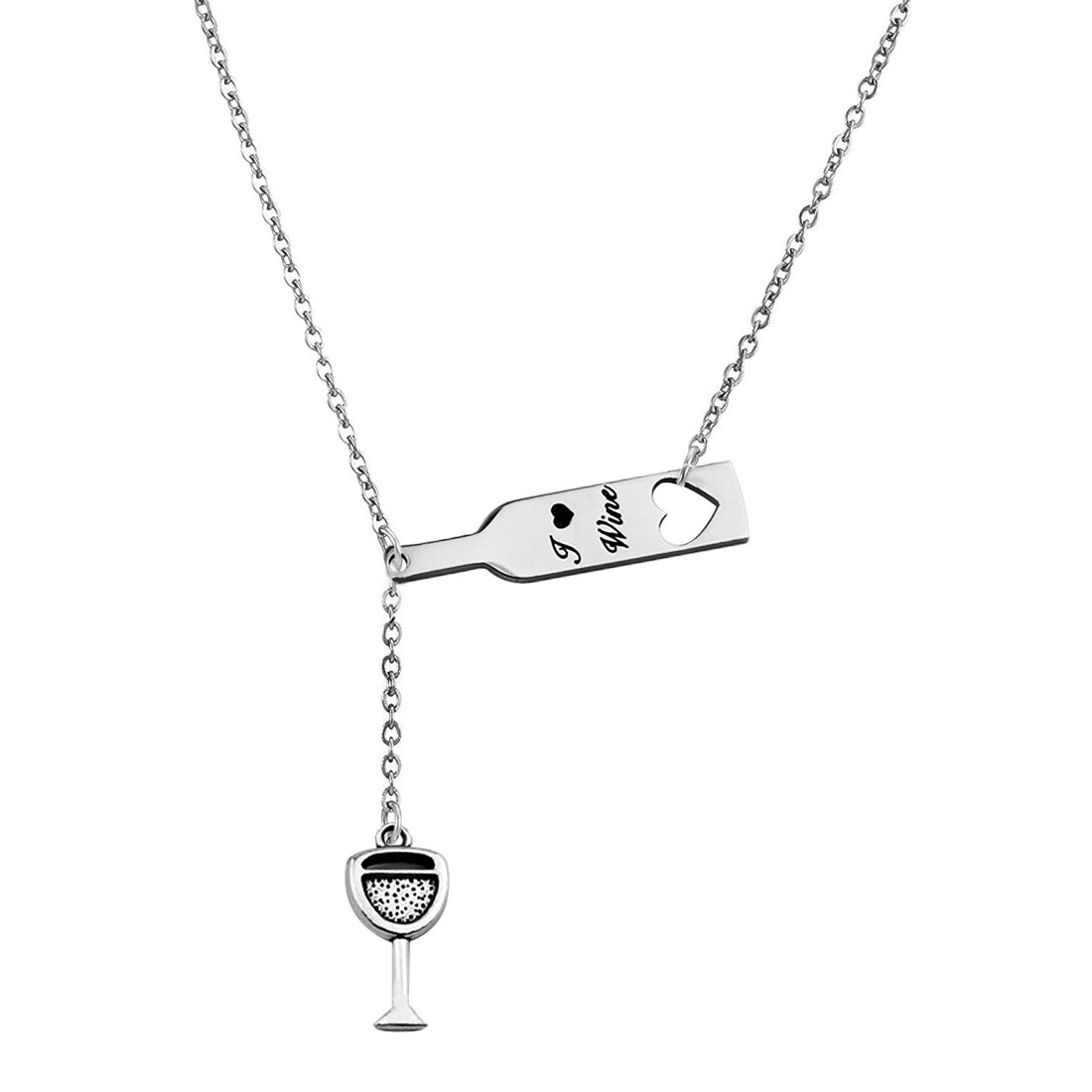 Zuo Bao Wine Necklace for Women, Love Heart Wine Cup Lariat Y Necklace, Stainless Steel Wine Jewelry Gift for Wine Lovers (Y-Necklace-1)