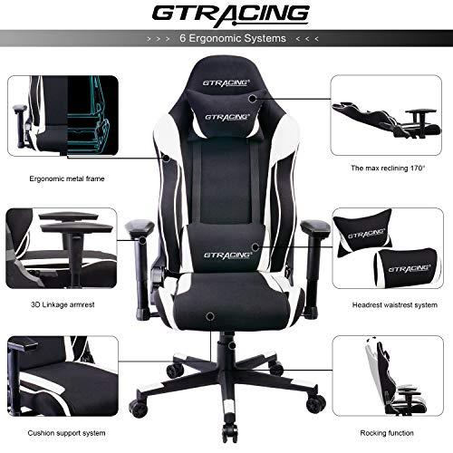 Gtracing Gaming Racing Chair 350lb Adjustable Tilt Back