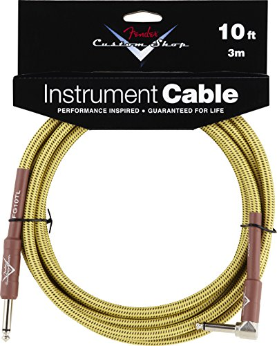 Fender Custom Shop Performance Series Cable (Straight-Right Angle) for electric guitar, bass guitar, electric mandolin, pro audio by Fender