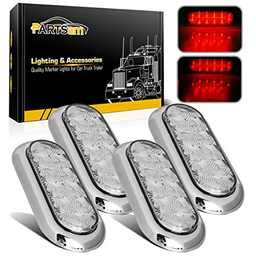 4x Oval Clear/Red Stop Turn Tail Brake Lights Flange Mount 6