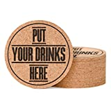 Cork Coasters for Drinks by HoneyDuck - Set of 10 - Absorbent, Protect Furniture, Don't Stick to Cups and Glasses - Bar Size Large Round 4 inch, Thick 0.2 inch - Funny with Sayings - Gift Box