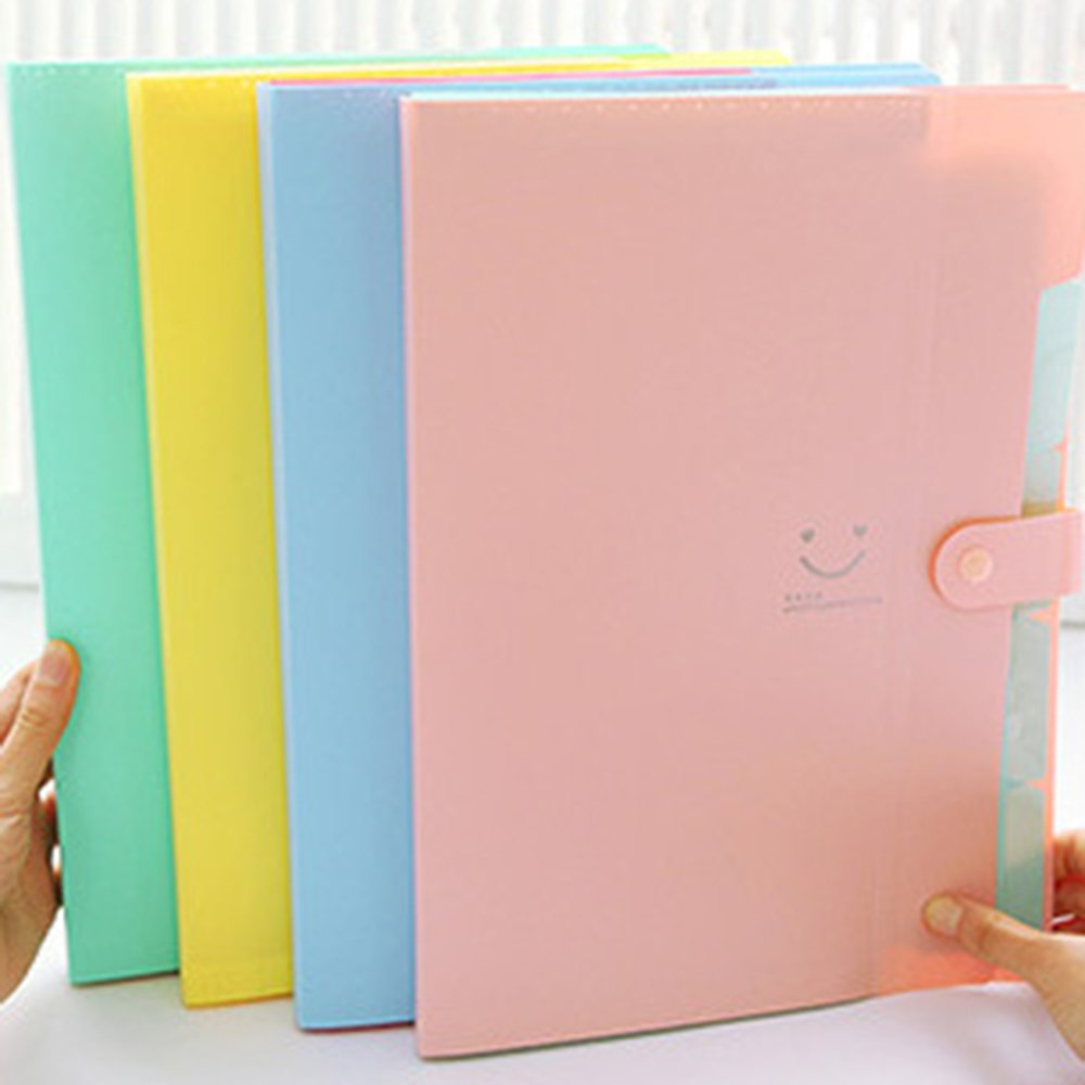 5 Pockets A4 Plastic File Folders Pocket Folders for School and Office 3 Pcs Expanding Accordion Document Organizer Multicolor