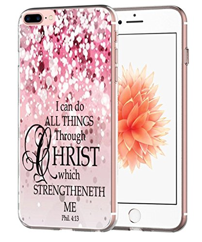 Price comparison product image Iphone 7 Plus Case Bible Verse Protective- Topgraph [Soft Tpu Slim Fit Protective] Apple Iphone 7 Plus Protective Cover Christian Jesus Clear Soft Tpu