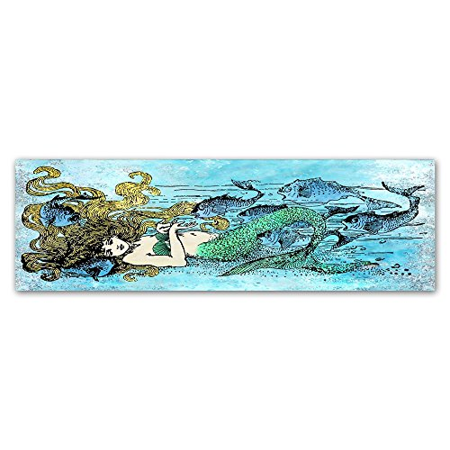 Mermaid Under The Sea 1 by Jean Plout, 10x32-Inch Canvas Wall ()