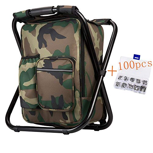 Bright starl Upgraded Large Size 3 in1 Multifunction Fishing Backpack Chair, Portable Hiking Camouflage Camping Stool, Folding Cooler Insulated Picnic Bag Backpack Stool ()