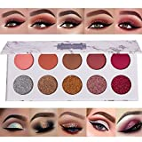 10 Colors Pigmented Pressed Matte + Glitter Eyeshadow Palette - Colorful Natural Mineral Neutral Pink Taupe Dark Brown Silver Gold Glitter(Better with Primer or Glue) Bright Sparkle Shimmer Eye Shadow