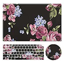 """HRH 3 in 1 Oil Painting Flower Design PC Plastic Hard Case Cover with Silicone Keyboard Cover&Mouse Pad for MacBook New Air 13"""" with Retina Display fit Fingerprint Touch ID (Model A1932,2018 Release)"""